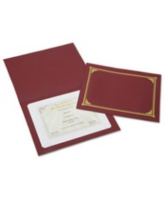 7510016272958 SKILCRAFT GOLD FOIL DOCUMENT COVER, 12 1/2 X 9 3/4, BURGUNDY, 6/PK