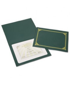 7510016272961 SKILCRAFT GOLD FOIL DOCUMENT COVER, 12 1/2 X 9 3/4, GREEN, 6/PACK