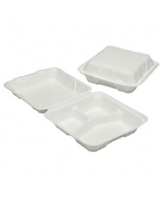7350016646909, Clamshell Hinged Lid ToGo Food Containers, 9x9x3, 3 Comp, 200/BX