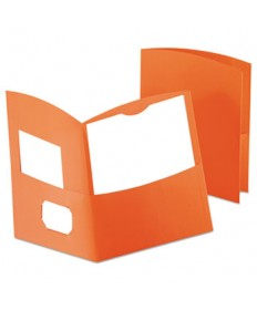 Contour Two-Pocket Recycled Paper Folder, 100-Sheet Capacity, Orange