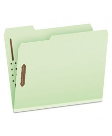 "Pressboard Folders, 2 Fasteners, 1"" Expansion, 1/3 Tab, Letter, Green, 25/Box"