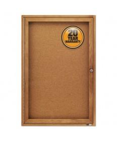 Enclosed Bulletin Board, Natural Cork/fiberboard, 24 X 36, Oak Frame