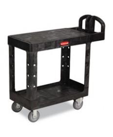 Flat Shelf Utility Cart, Two-Shelf, 19-3/16w X 37-7/8d X 33-1/3h, Black