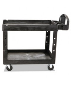 Heavy-Duty Utility Cart, Two-Shelf, 25 9/10w X 45 1/5d X 32 1/5h, Black