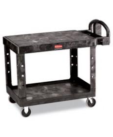 Flat Shelf Utility Cart, Two-Shelf, 25-1/4w X 44d X 38-1/8h, Black