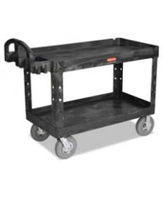 Heavy-Duty 2-Shelf Utility Cart, Pneumatic Wheels, 25-1/4w X 54d X 39-1/4h, Bk