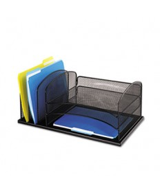 """ONYX DESK ORGANIZER WITH THREE HORIZONTAL AND THREE UPRIGHT SECTIONS, LETTER SIZE FILES, 19.5"""" X 11.5"""" X 8.25"""", BLACK"""