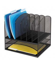 "ONYX MESH DESK ORGANIZER WITH TWO HORIZONTAL AND SIX UPRIGHT SECTIONS, LETTER SIZE FILES, 13.25"" X 11.5"" X 13"", BLACK"