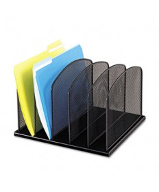 "ONYX MESH DESK ORGANIZER WITH UPRIGHT SECTIONS, 5 SECTIONS, LETTER TO LEGAL SIZE FILES, 12.5"" X 11.25"" X 8.25"", BLACK"