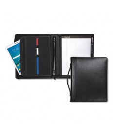 LEATHER MULTI-RING ZIPPERED PORTFOLIO, TWO-PART, 1 CAP, 11 X 13 1/2, BLACK