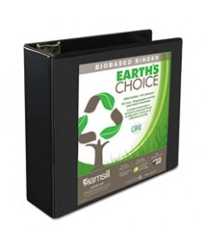 EARTH'S CHOICE BIOBASED D-RING VIEW BINDER, 1 1/2 CAPACITY, BLACK