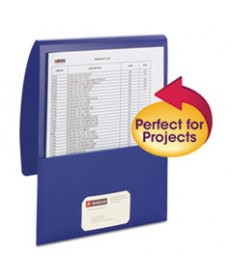 Organized Up Poly Stackit Folders, Letter, 1 Capacity, Dark Blue, 5/pack