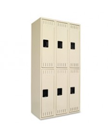 Double Tier Locker, Single Stack, 12w X 18d X 72h, Medium Gray
