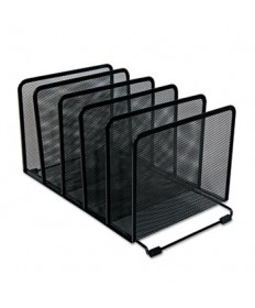 "Deluxe Mesh Stacking Sorter, 5 Sections, Letter to Legal Size Files, 14.63"" x 8.13"" x 7.5"", Black"