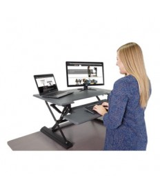 High Rise Height Adjustable Standing Desk with Keyboard Tray, 36w, Gray/Black