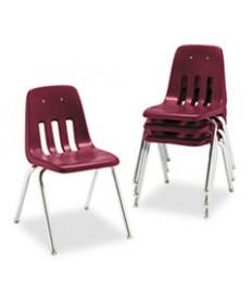 9000 Series Classroom Chair, 18 Seat Height, Wine/chrome, 4/carton