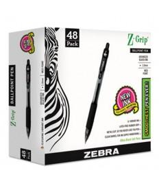 Z-GRIP RETRACTABLE BALLPOINT PEN, MEDIUM 1 MM, BLACK INK/BARREL, 48/PACK